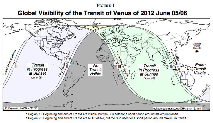 global diagram of transit of Venus observability
