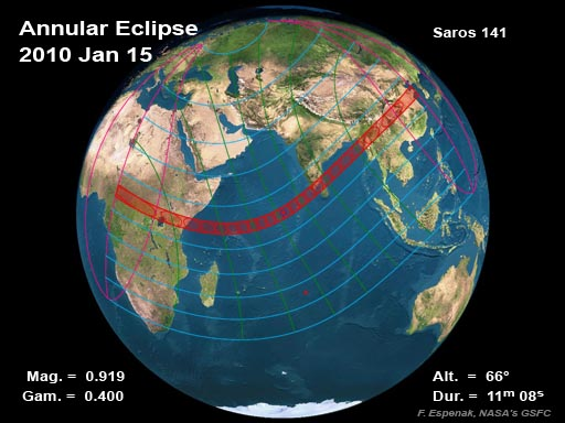 2010 Annular Solar Eclipse Global Map