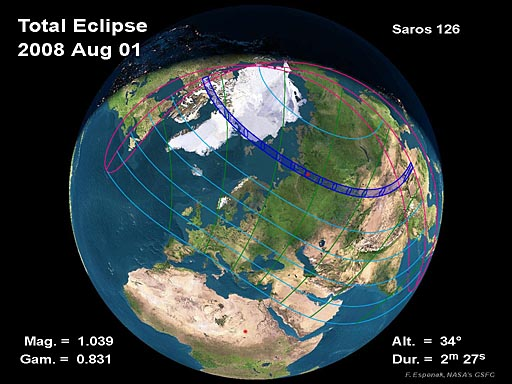 2008 Total Solar Eclipse Global Map