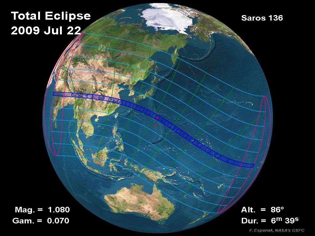 La plus longue éclipse totale du Soleil du 21éme siècle le 22 juillet