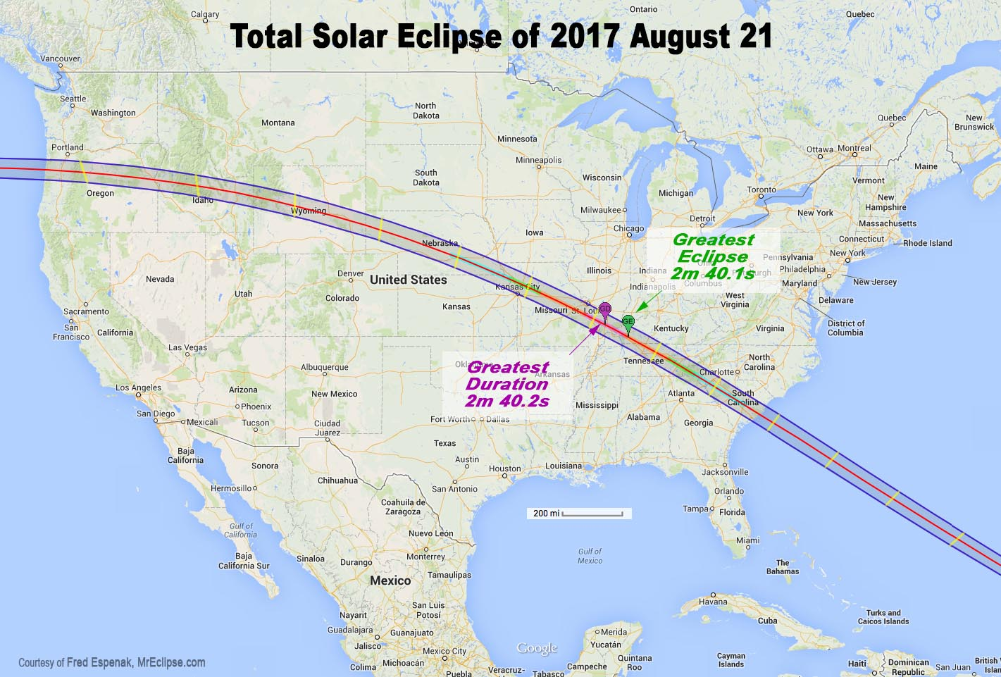 2017 Total Solar Eclipse Global Map